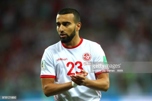 Naim Sliti of Tunisia in action during the 2018 FIFA World Cup Russia group G match between Tunisia and England at Volgograd Arena on June 18 2018 in...