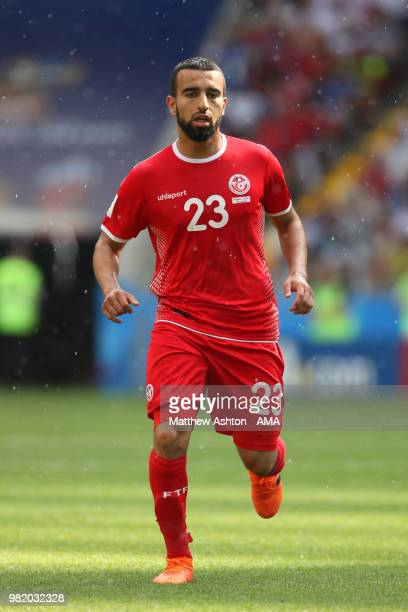 Naim Sliti of Tunisia in action during the 2018 FIFA World Cup Russia group G match between Belgium and Tunisia at Spartak Stadium on June 23 2018 in...