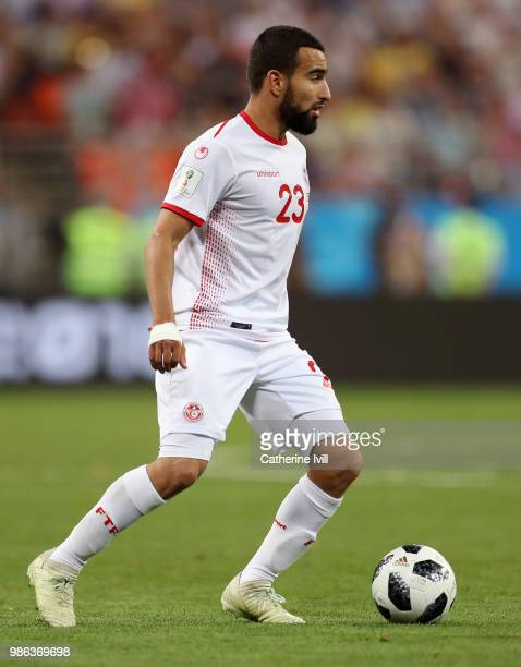 Naim Sliti of Tunisia in action during the 2018 FIFA World Cup Russia group G match between Panama and Tunisia at Mordovia Arena on June 28 2018 in...