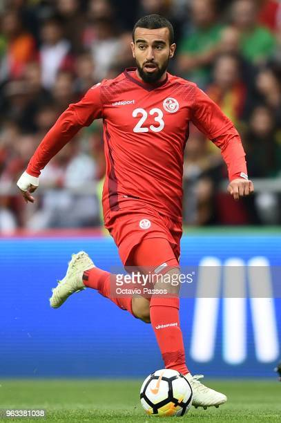 Naim Sliti of Tunisia in action during the international friendly football match against Portugal and Tunisia at the Municipal stadium de Braga on...