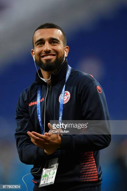 Naim Sliti of Tunisia looks on during a pitch inspection prior to the 2018 FIFA World Cup Russia group G match between Tunisia and England at...