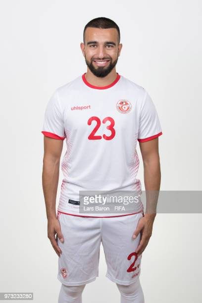 Naim Sliti of Tunisia poses during the official FIFA World Cup 2018 portrait session on June 13 2018 in Moscow Russia