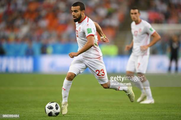 Naim Sliti of Tunisia runs with the ball during the 2018 FIFA World Cup Russia group G match between Panama and Tunisia at Mordovia Arena on June 28...