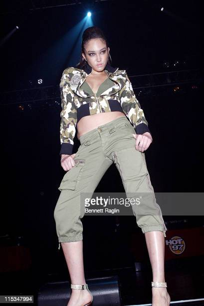 Naima Mora wearing Mecca Femme during Hot 97's Third Annual Full Frontal Hip Hop Fashion Show at Hammerstein Ballroom in New York NY United States