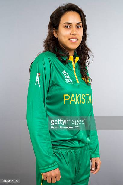 Nain Abidi during the photocall of the Pakistan team ahead of the Women's ICC World Twenty20 India 2016 on March 13 2016 in Chennai India