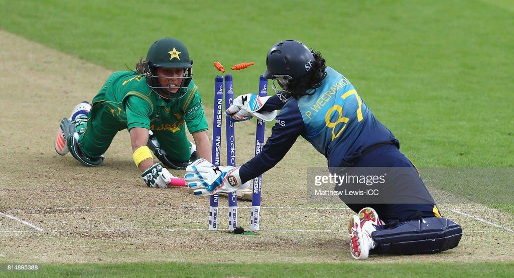 Nain Abidi of Pakistan is run out by Prasadani Weerakkodi of Sri Lanka during the ICC Women's World Cup 2017 match between Pakistan and Sri Lanka at Grace Road on July 15, 2017 in Leicester, England.