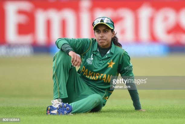 Nain Abidi of Pakistan looks on during the ICC Women's World Cup 2017 match between Pakistan and Australia at Grace Road on July 5 2017 in Leicester...