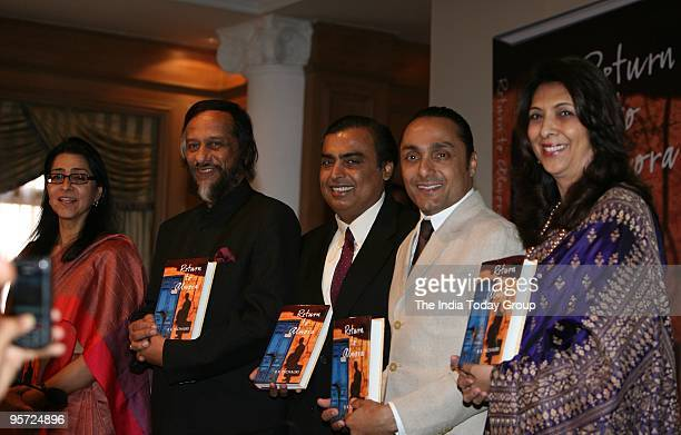 Naina Lal Kidwai Dr RK Pachauri Mukesh Ambani Rahul Bose and Indu Sahani during the release of Dr RK Pachauri's book 'Return to Almora' in Mumbai on...