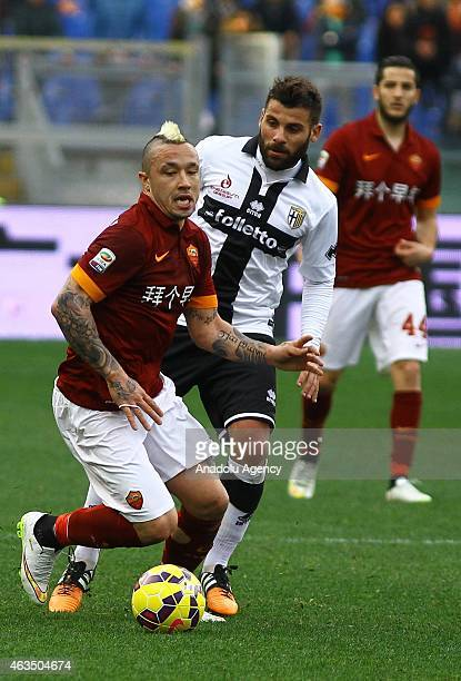 Nainggolan of AS Roma in action during the Serie A match between AS Roma and Parma FC at Stadio Olimpico in Rome Italy on February 15 2015