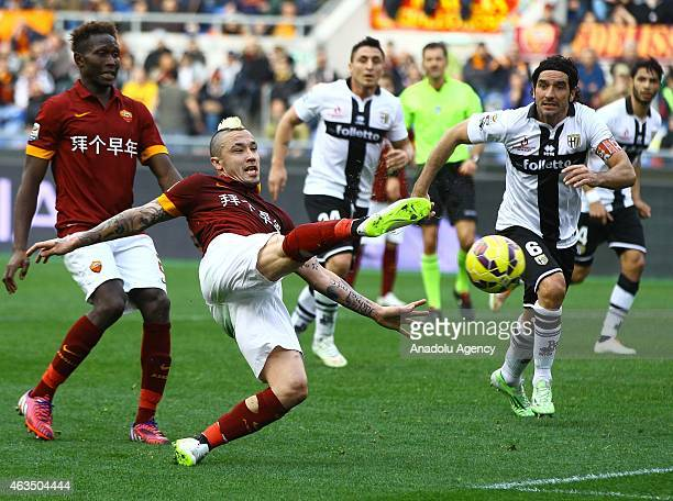 Nainggolan of AS Roma vies with Lucarelli of Parma FC during the Serie A match between AS Roma and Parma FC at Stadio Olimpico in Rome Italy on...