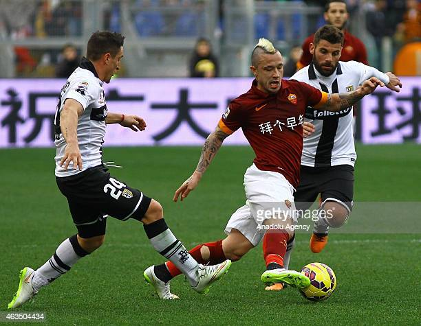 Nainggolan of AS Roma vies with Rodriguez of Parma FC during the Serie A match between AS Roma and Parma FC at Stadio Olimpico in Rome Italy on...