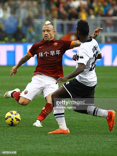 Nainggolan of AS Roma vies with Varela of Parma FC during the Serie A match between AS Rome and Parma FC at Stadio Olimpico in Rome Italy on February...