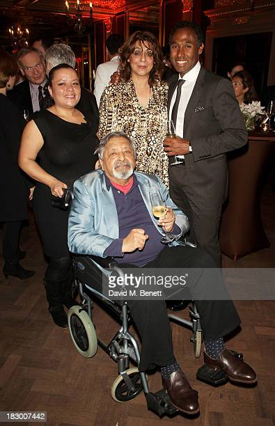 S Naipaul and wife Nadira Naipaul attend the launch of Geordie Greig's new book Breakfast With Lucian on October 3 2013 in London England