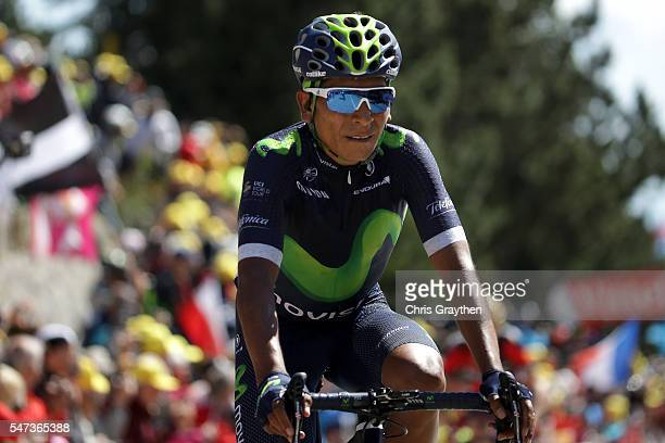 Nairo Alexander Quintana of Colombia riding for Movistar Team crosses the finish line during stage twelve a 178km stage from Monpellier to...