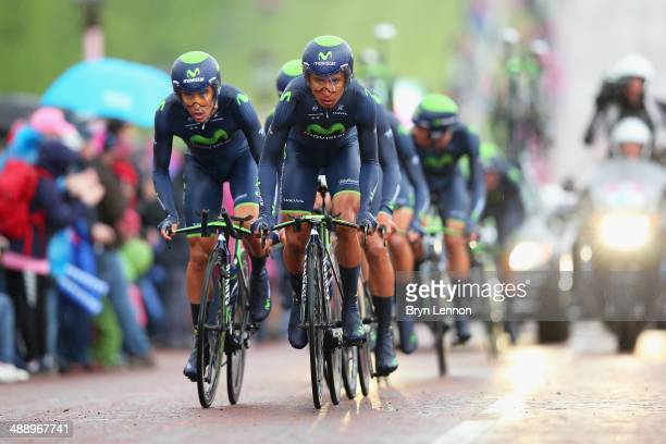 Nairo Quintana of Colombia and Movistar in action during the first stage of the 2014 Giro d'Italia a 21km Team Time Trial stage at the Stormont...