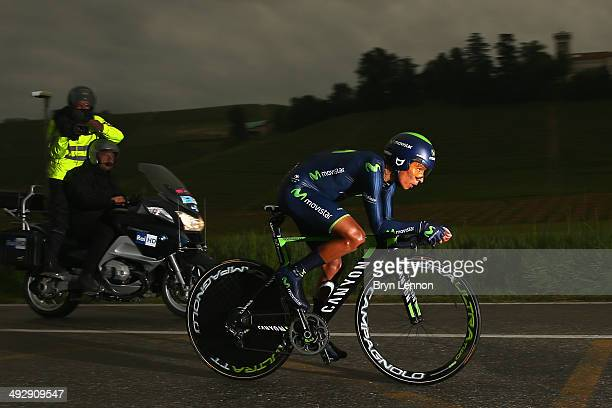 Nairo Quintana of Colombia and Movistar in action during the twelfth stage of the 2014 Giro d'Italia a 42km Individual Time Trial stage between...