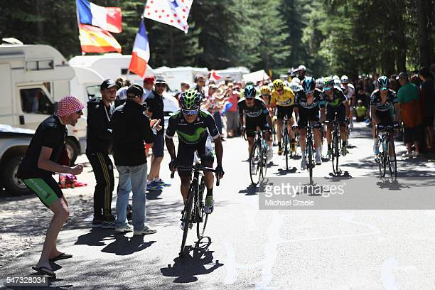 Nairo Quintana of Colombia and Movistar makes a break on the early stages of the climb to Mont Ventoux during the 12th stage of Le Tour de France...