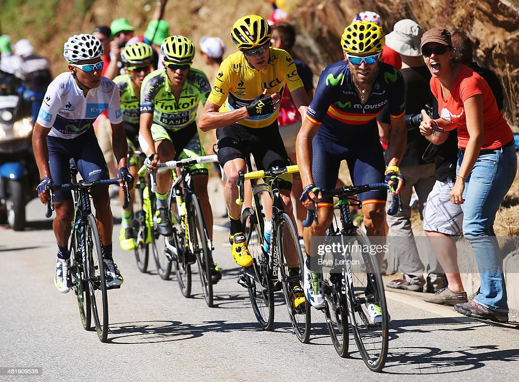 Nairo Quintana of Colombia and Movistar Team, Alberto Contador of Spain and Tinkoff-Saxo, Chris Froome of Great Britain and Team Sky and Alejandro Valverde of Spain and Movistar Team ride up the Alpe d'Huez during the twentieth stage of the 2015 Tour de France, a 110.5 km stage between Modane Valfrejus and L'Alpe d'Huez on July 25, 2015 in Modane Valfrejus, France.