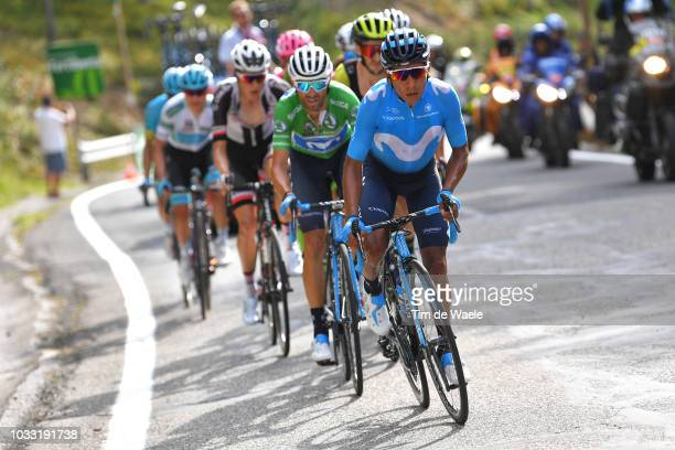 Nairo Quintana of Colombia and Movistar Team / Alejandro Valverde of Spain and Movistar Team Green Points Jersey / during the 73rd Tour of Spain 2018...