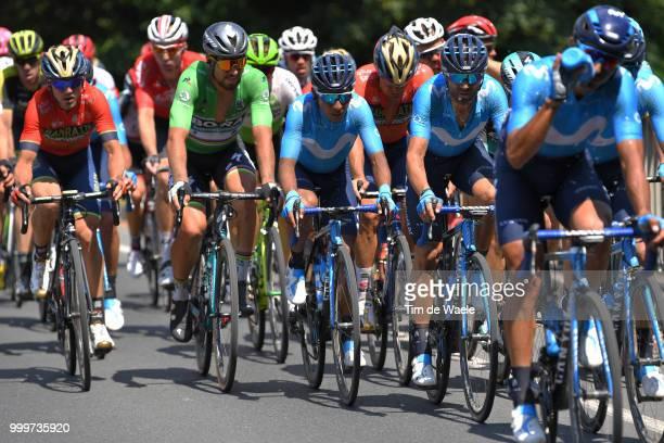 Nairo Quintana of Colombia and Movistar Team / Alejandro Valverde of Spain and Movistar Team / Peter Sagan of Slovakia and Team Bora Hansgrohe Green...