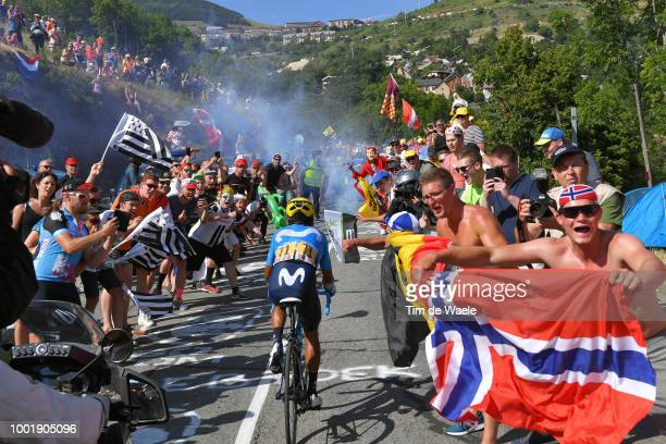 Nairo Quintana of Colombia and Movistar Team / Alpe d'Huez / Fans / Public / during the 105th Tour de France 2018 Stage 12 a 1755km stage from...