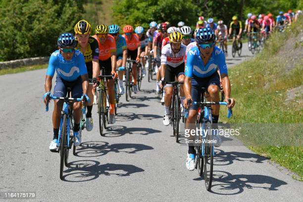 Nairo Quintana of Colombia and Movistar Team / Andrey Amador of Costa Rica and Movistar Team / Mike Teunissen of The Netherlands and Team JumboVisma...