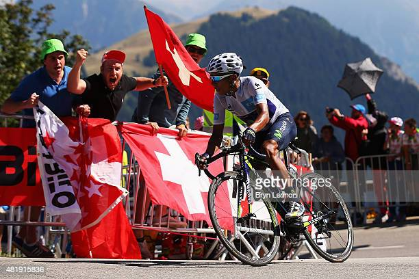 Nairo Quintana of Colombia and Movistar Team attacks on the Alpe d'Huez during the twentieth stage of the 2015 Tour de France a 1105 km stage between...