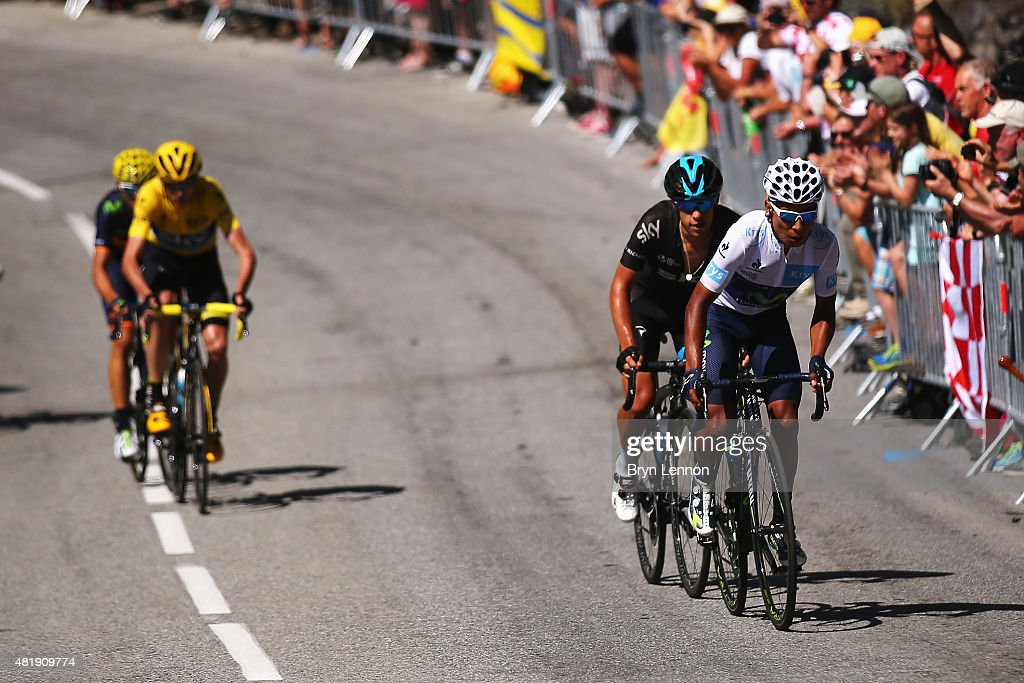 Nairo Quintana (R) of Colombia and Movistar Team attacks race leader Chris Froome (left/yellow) of Great Britain and Team Sky on the Alpe d'Huez during the twentieth stage of the 2015 Tour de France, a 110.5 km stage between Modane Valfrejus and L'Alpe d'Huez on July 25, 2015 in Modane Valfrejus, France.