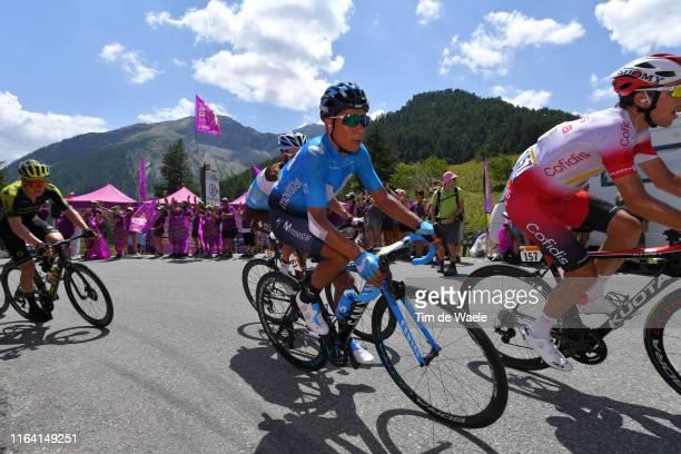 Nairo Quintana of Colombia and Movistar Team / Christopher Juul Jensen of Denmark and Team Mitchelton-Scott / Le Méleze / Col De Vars / Public / Fans...