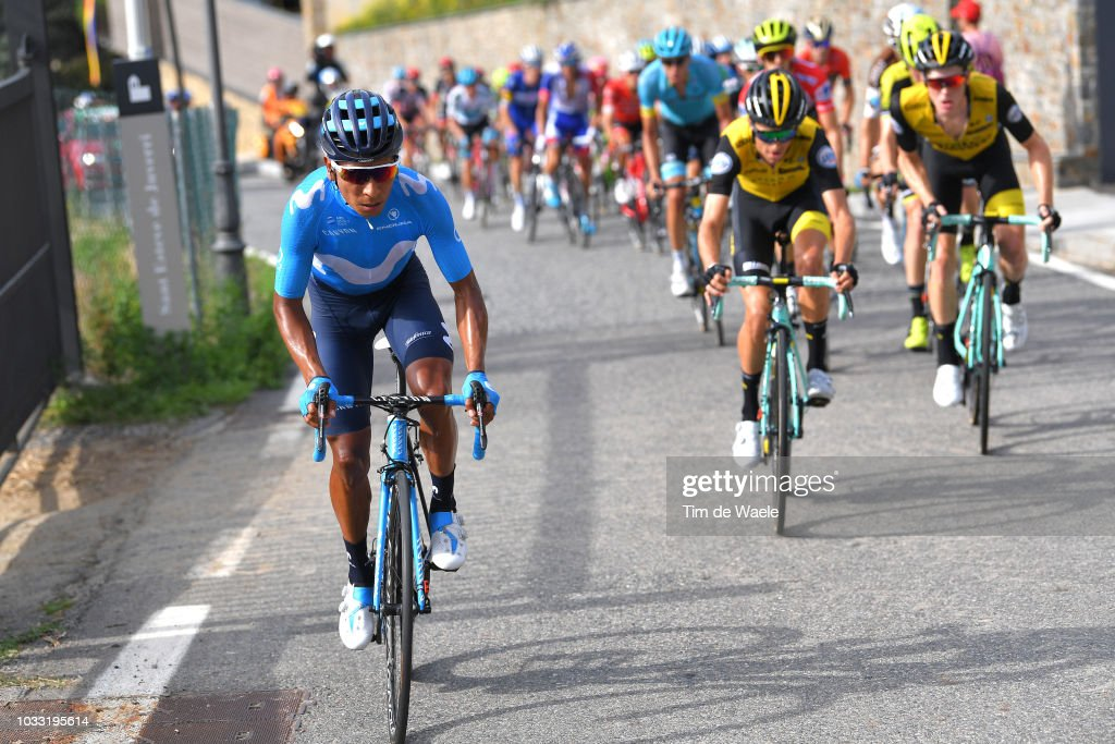 Nairo Quintana of Colombia and Movistar Team / during the 73rd Tour of Spain 2018, Stage 19 a 154,4km stage from Lleida to Naturlandia - Coll De La Rabassa 2025m / La Vuelta / on September 14, 2018 in Naturlandia - Coll De La Rabassa, Andorra.