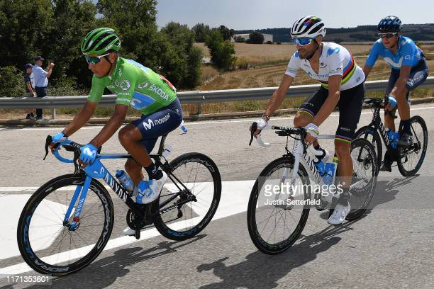 Nairo Quintana of Colombia and Movistar Team Green Points Jersey / Alejandro Valverde Belmonte of Spain and Movistar Team / Marc Soler of Spain and...