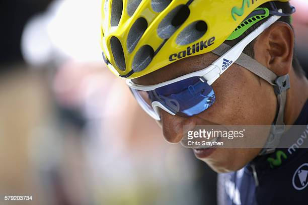 Nairo Quintana of Colombia and Movistar Team looks on prior to stage twenty of the 2016 Le Tour de France from Megeve to Morzine on July 23 2016 in...