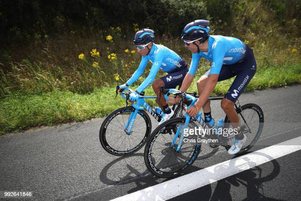 Nairo Quintana of Colombia and Movistar Team / Marc Soler of Spain and Movistar Team / during the 105th Tour de France 2018 Training / TDF / on July...