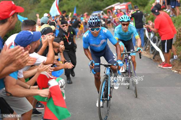 Nairo Quintana of Colombia and Movistar Team / Miguel Angel Lopez of Colombia and Astana Pro Team / during the 73rd Tour of Spain 2018 Stage 14 a...