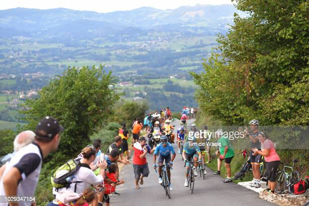 Nairo Quintana of Colombia and Movistar Team / Miguel Angel Lopez of Colombia and Astana Pro Team / Alto Les Praeres / Landscape / Fans / Public /...