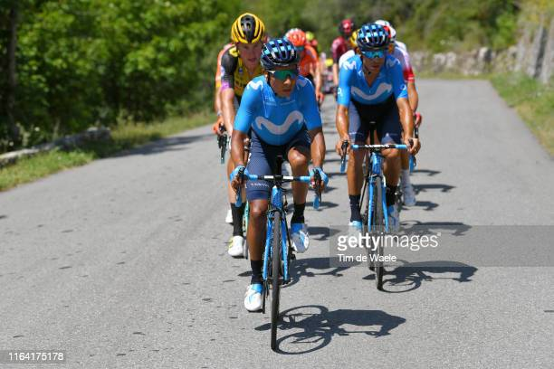 Nairo Quintana of Colombia and Movistar Team / Mike Teunissen of The Netherlands and Team JumboVisma / Andrey Amador of Costa Rica and Movistar Team...