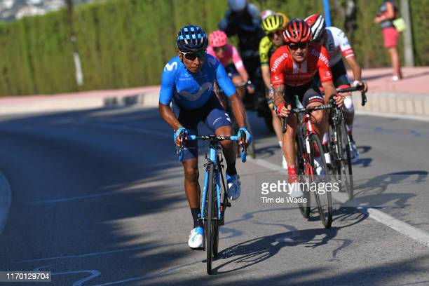 Nairo Quintana of Colombia and Movistar Team / Nicolas Roche of Ireland and Team Sunweb / Mikel Nieve Ituralde of Spain and Team Mitchelton-Scott /...