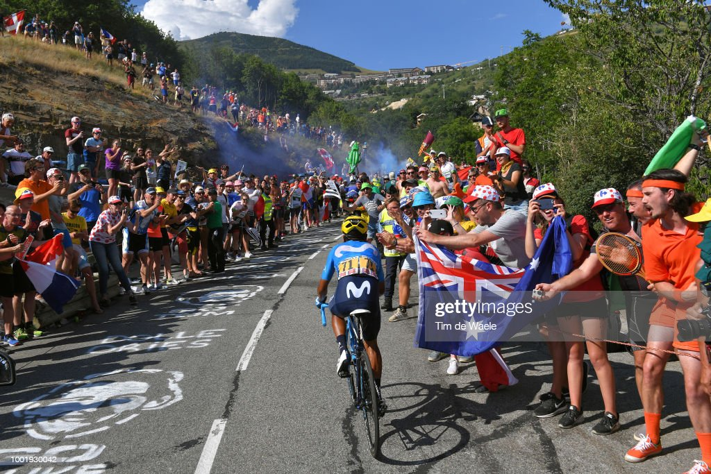 Nairo Quintana of Colombia and Movistar Team / Public / Fans / during the 105th Tour de France 2018, Stage 12 a 175,5km stage from Bourg-Saint-Maurice Les Arcs to Alpe d'Huez 1850m / TDF / on July 19, 2018 in Alpe d'Huez, France.