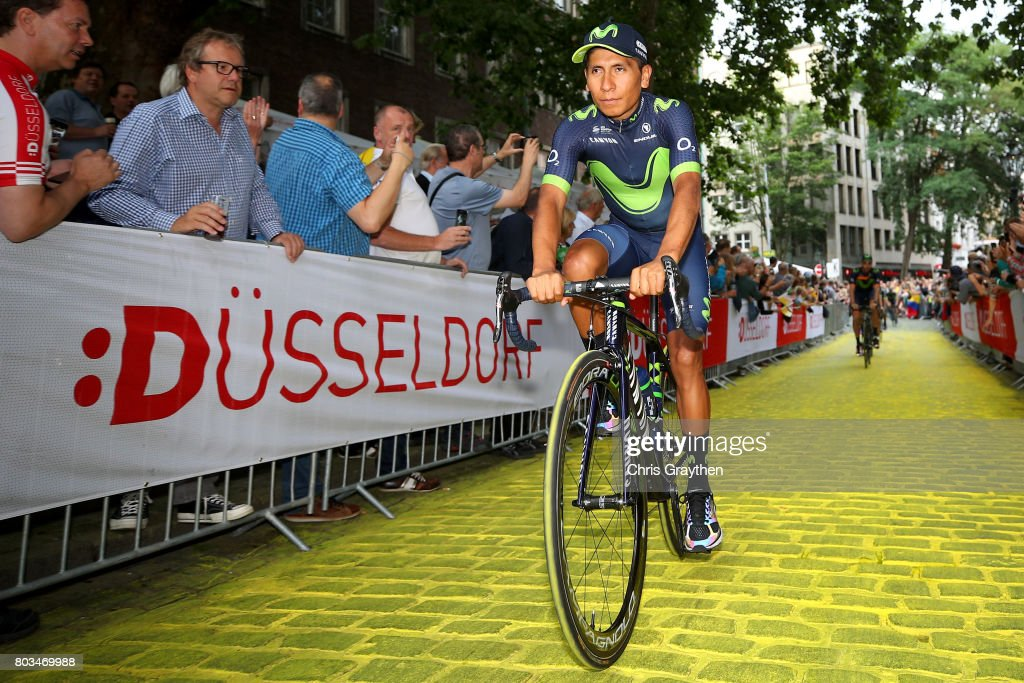 Nairo Quintana of Colombia and Movistar Team rides during the team presentation for the 2017 Le Tour de France on June 29, 2017 in Duesseldorf, Germany.