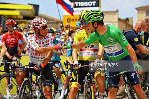 Nairo Quintana of Colombia and Team Arkéa Samsic Polka Dot Mountain Jersey, Tadej Pogačar of Slovenia and UAE-Team Emirates Yellow Leader Jersey &...