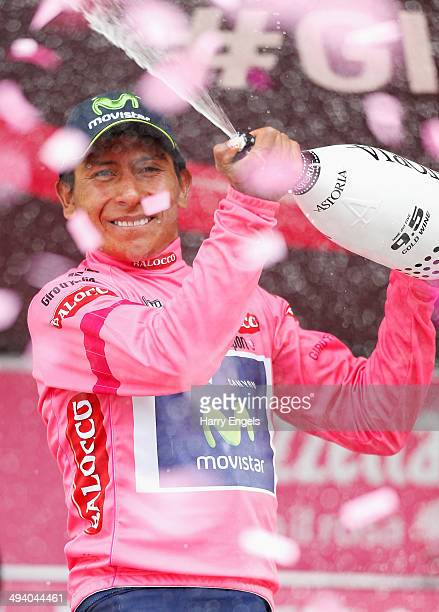 Nairo Quintana of Colombia and team Movistar celebrates after winning the stage to claim the Maglia Rosa leader's jersey following the sixteenth...