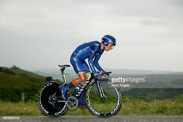 Nairo Quintana of Colombia and team Movistar in action during the twelfth stage of the 2014 Giro d'Italia a 42km Individual Time Trial stage between...