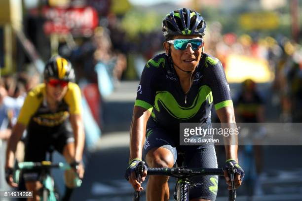 Nairo Quintana of Colombia riding for Movistar Team crosses the finish line during stage 14 of the 2017 Le Tour de France, a 181.5km stage from...
