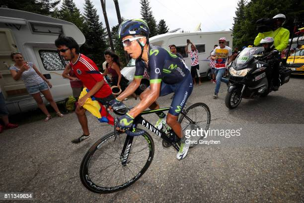 Nairo Quintana of Colombia riding for Movistar Team rides up the Mont du Chat during stage 9 of the 2017 Le Tour de France a 1815km stage from Nantua...