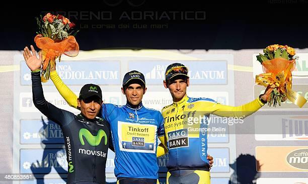 Nairo Quintana of Movistar Team and Alberto Contador of Tinkoff Saxo and Roman Kreuziger of Tinkoff Saxo on the podium of the 49 Tirreno Adriatico...