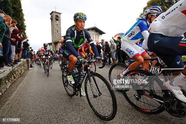 Nairo Quintana of team Movistar rides during the 110th edition of the giro di Lombardia a 241 km cycling race from Como to Bergamo on October 1 2016...