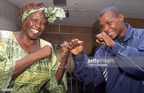 2005 Nobel prize laureate and Kenyan deputy Environment Minister Wangari Mathaai and women's World middleweight boxing champion Conjestina Achieng'...