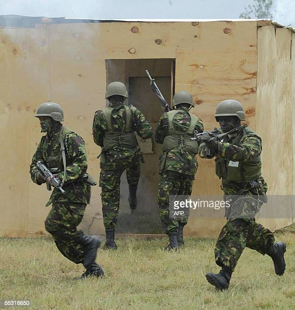 Army officers are seen in a drill during joint antiterrorism exercises with officers from Kenya Uganda and Tanzania 08 September 2005 at Kenya's...