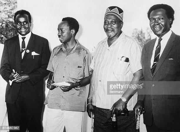 Nairobi Kenya Attending a Big Four meeting here October 16 are these African Leaders Dr Kenneth Kaunda Northern Rhodesian Premier President Julius...
