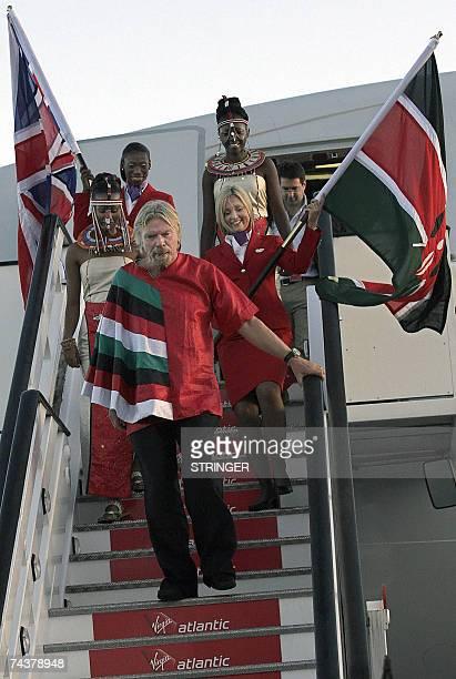 Founder of the Virgin group Sir Richard Branson disembarks from one of his planes 02 June 2007 at the Jomo Kenyatta Airport in Nairobi during Virgin...